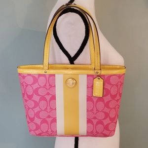 Coach B1373-f49096 Pink & Yellow Leather Satchel